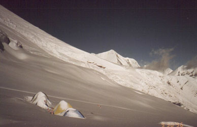 Japaneese camp, covered with snow.