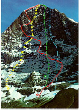 Eiger. Four routes on the wall.