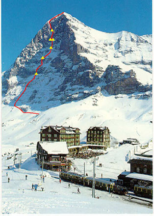 Eiger. The team route.