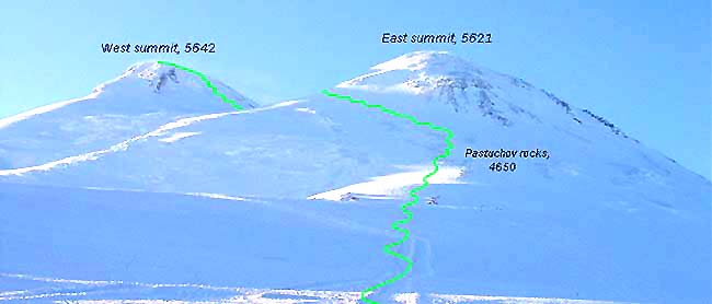 Southern slopes of Elbrus in winter